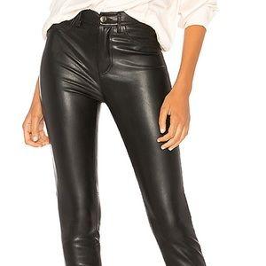 Free people vegan black faux leather pants 28